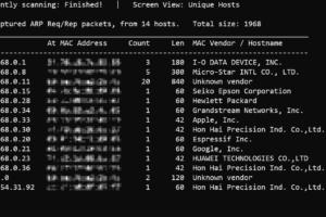 「netdiscover」コマンドで、同一ネットワーク上の機器で使われているIPアドレスを一覧表示